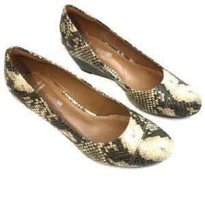 CLARKS Python Print Green/Cream Wedge Heels 5 1/2